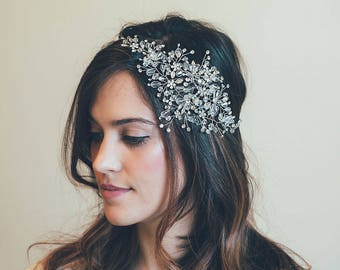 Bridal Headband, Bridal Hair Vine, Silver hair vine,  Rhinestone headband, Bride Hair Accessories, Crystal hair vine