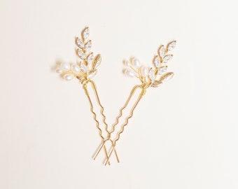 Bridal Crystal Hair Pins | Gold Leaf Hair Pins | Gold Hair Pins | Floral Hair Pins | Gold Bridal Headpiece | Bridesmaid Hair Pins
