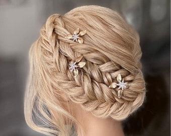 Bridal Gold Leaf Rhinestone Hair pin, Gold Hair Pins, Leaf Hair Pins, Gold Hair Vine, Gold Bridal Headpiece, Bridesmaid Hair Pins