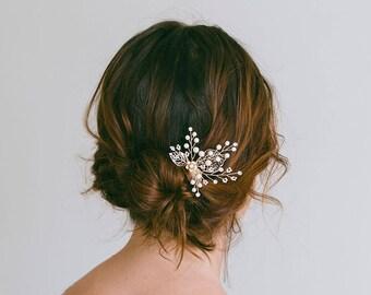 Bridal hair pins, Gold hair pins, Leaf hair pin, Vintage hair pins, Gold bridal headpiece, Bridesmaid hair