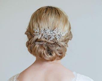 Bridal hair vine, Gold or Silver Hair Vine, Gold headpiece, Rhinestone hair vine, Wedding back headpiece