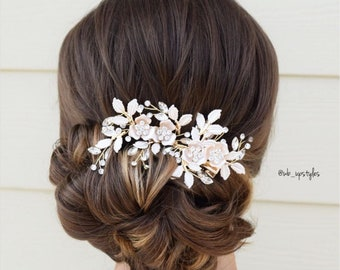 Rose Gold Seed Pearl Rose Gold Barrette Wedding Jewelry Bridal Hair Headpiece Hair Accessory Hair Clip