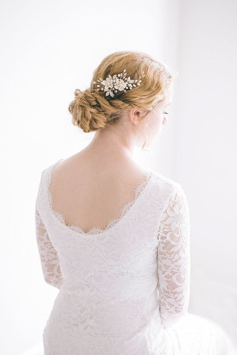Bridal Side Comb Floral Hair Comb Flower Hair Comb Bridal Hair Comb Gold Hair Comb RosyRoseStudio Bridal Flower Gold Hair Comb