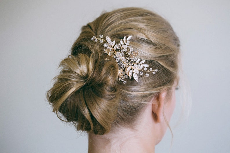 Gold Hair Comb Gold Leaf Hair Comb Silver Hair Comb Gold image 0