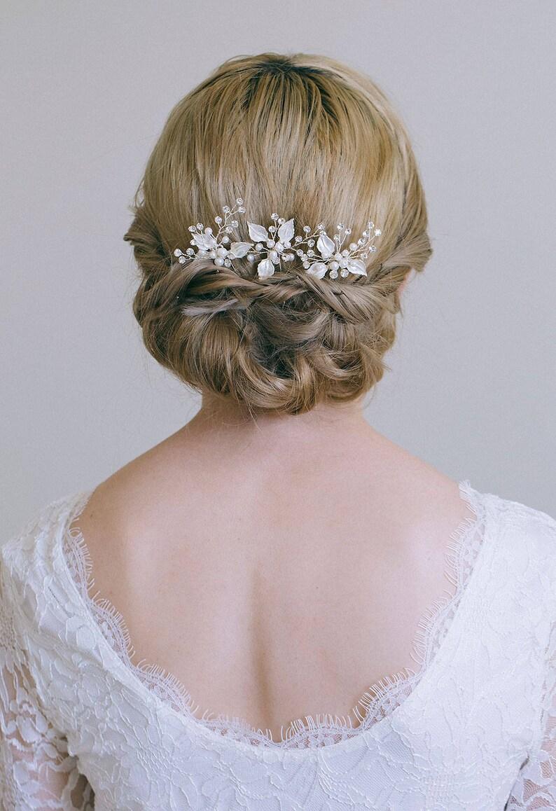 Bridal hair pin Leaf hair pin Gold hair pin Gold or Silver image 0