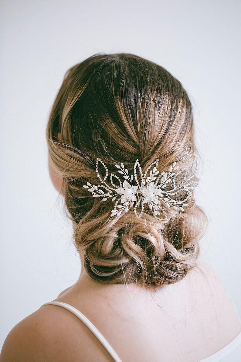 Veil Decoration Wedding Back Comb Rhinestone Hair Comb Bridal Leaf Comb Silver Bridal Hair Comb Bridal Decorative Combs