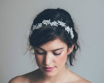 Bridal Headband, Bridal Hair Vine, Silver hair vine,  Floral crown, Bride Hair Accessories, Crystal hair vine, Floral hair vine