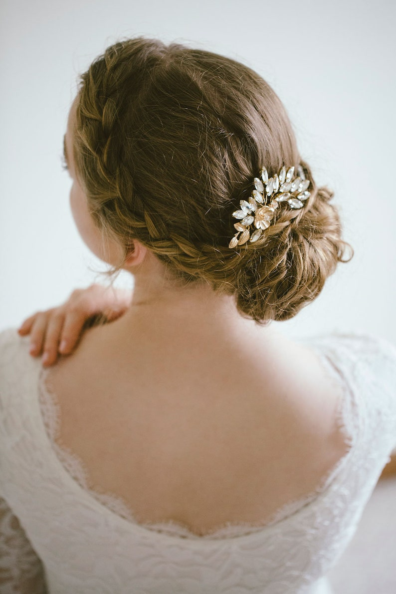 Bridal Hair Comb Rhinestone hair comb Wedding Back Comb RosyroseStudio Wedding Hair Comb Crystal Hair Comb Gold Hair Comb