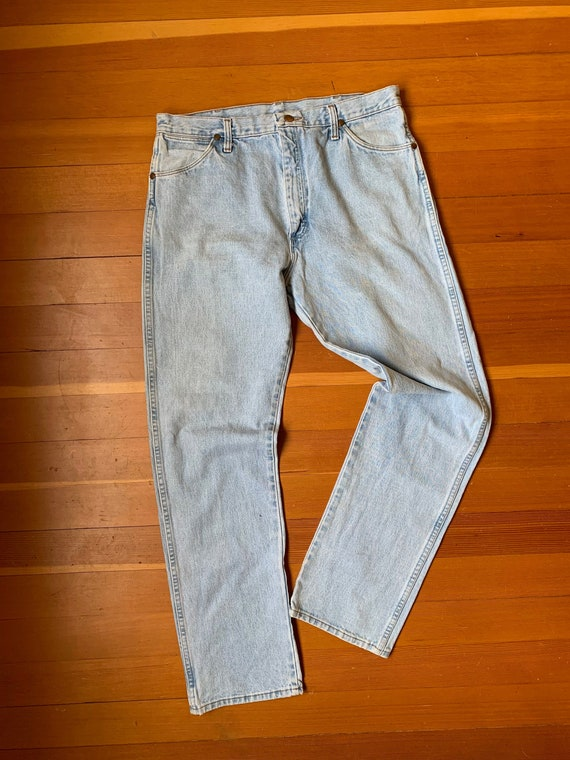 Vintage 90s Wranglers Light Wash made in USA Western Cowboy Alternative 80s 90s streetwear American denim classic zipper 36W 32L
