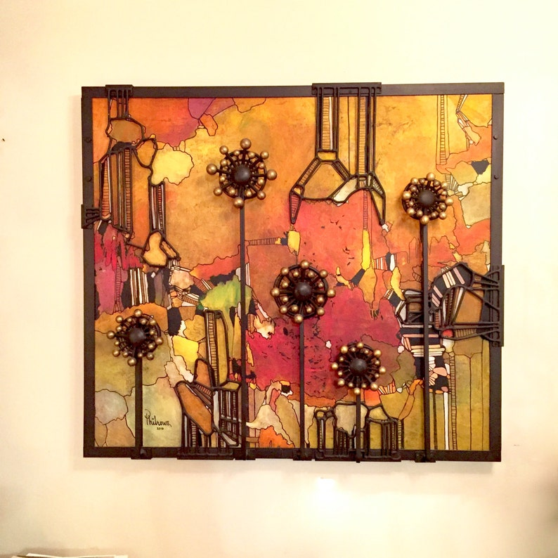 Phil Rowe, painting, welded sculpture, abstract art, found object  sculpture, folk art sculpture, Steam punk, Lobby art, office art, mix art