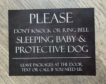 Don't Knock or Ring Bell. Naptime. Sleeping Baby Protective Dog - Front Door Magnet