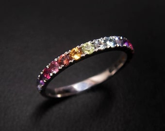 14K rainbow ring with the colored gemstone Candy ring,multistage gems rings