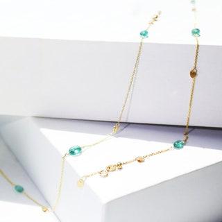 18K Emerald Anklet 18Kt Gold Love heart Emerald Bead Anklet Columbia Emerald Adjustable