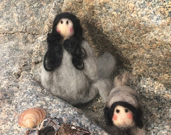 Felted Selkie Family (Mother and Baby Girl)