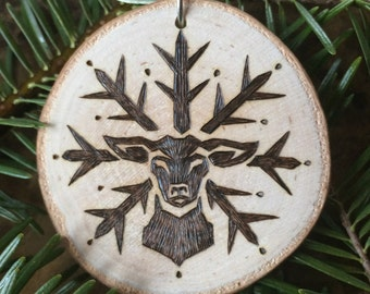 "Yule Ornament ""Deer Snowflake"""