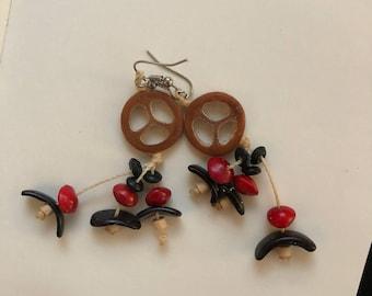 Natural Wood, Seed, Coconut Hanging Earrings - (Brazilian, Handmade, Amazon, Earthy)