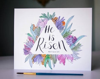 He Is Risen Easter Floral Vibrant Watercolor Wall Art 8x10 Print Scripture Verse