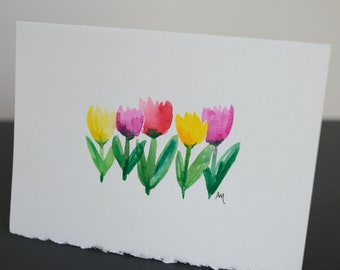 Tulip Watercolor Notecard 5x7 Envelope Spring