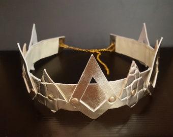 Gold Crown,Man crown,Gold crown headpiece,Leather Crown,King Crown,Men crown,Queen Crown,unisex crown, Men's Crown, Male crown, man headband