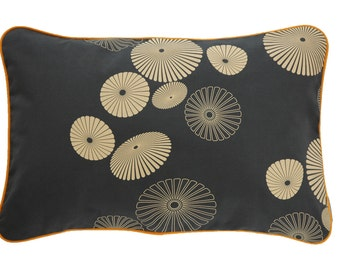 Pillow cover FLOWERSHOWER, dark grey/apricot, 60 x 40 cm (without filling)