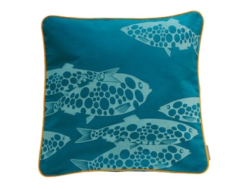 Pillow cover Miss fish, petrol/light blue, 50 x 50 cm (without filling)