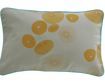 Pillow cover FLOWERSHOWER, light grey/mustard, 60 x 40 cm (without filling)