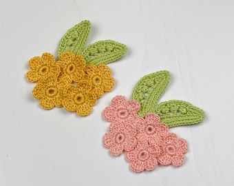Pack of 5 pieces Decorative items for scrapbooking Spring baby dress embellishment Crochet flower and leaves applique handmade in Italy