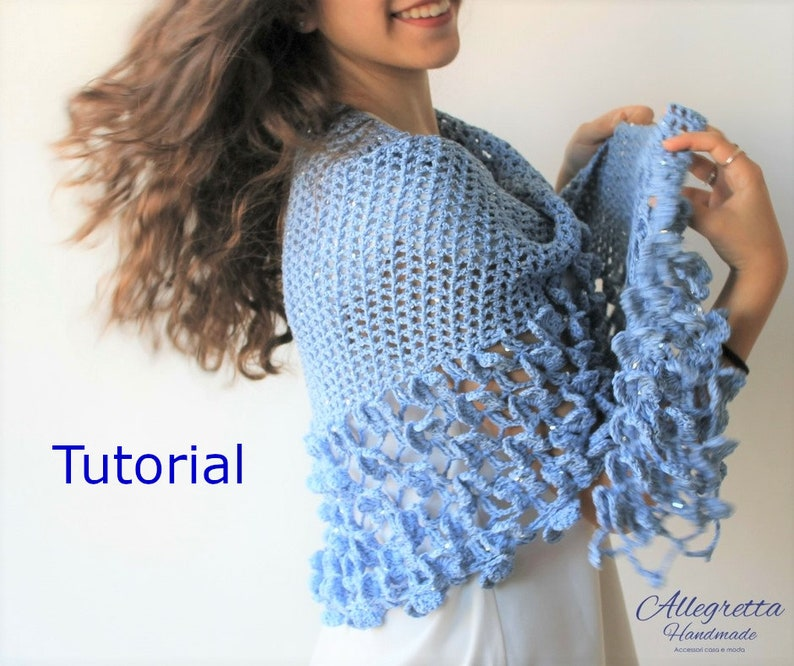 Pattern and Instructions in ITALIAN language PDF immediate download your pc TUTORIAL crochet women shawl Original shawl Butterfly flight