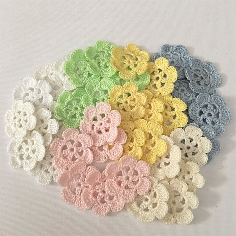 "5/"" **CROCHET INSPIRED MOTIF** Applique IVORY  *****LOT***** 12 pc"