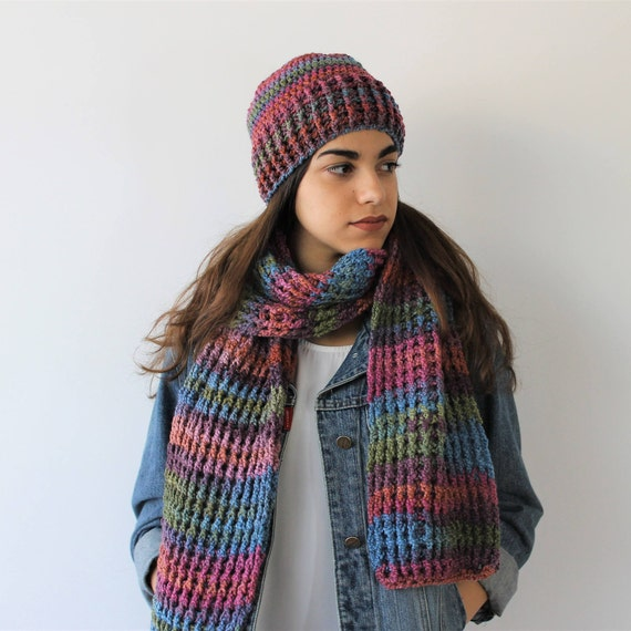 6b39786ee Handmade scarf women and multicolor wool hat Gift idea for
