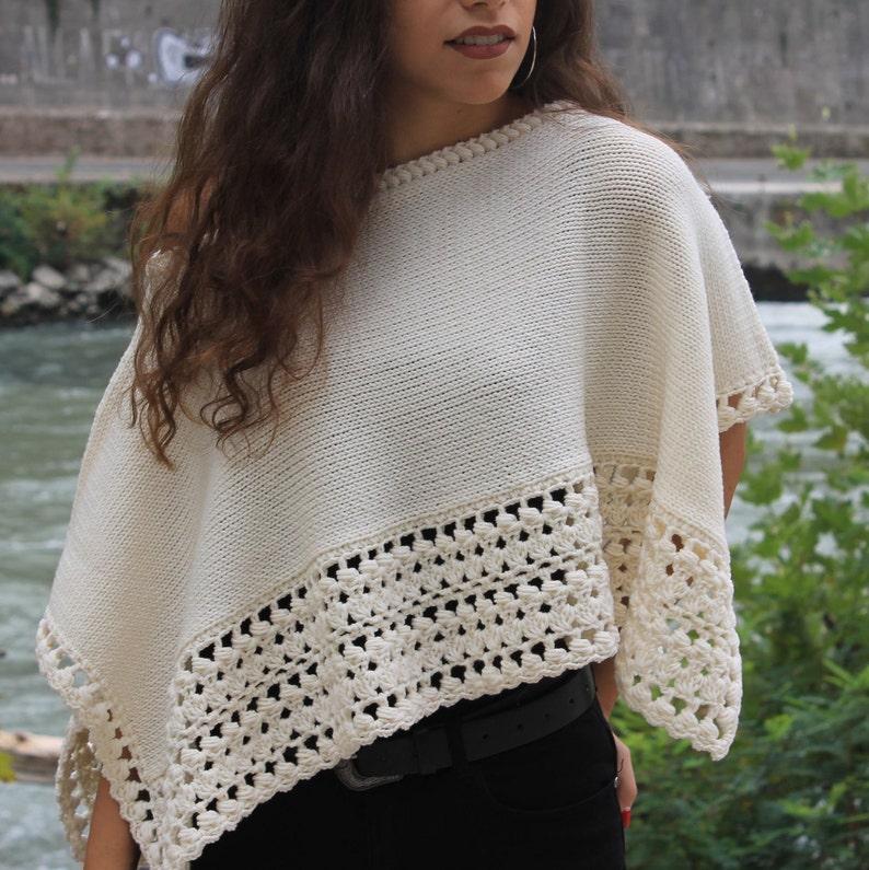 Poncho rettangolare da donna in lana merino bianco avorio  6f44343de5e2