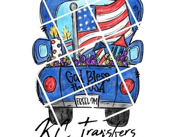 Blessed And Free Denim Fourth Of July  Patriotic Ready to Press Transfer Sublimation Or Iron On Vinyl Transfer