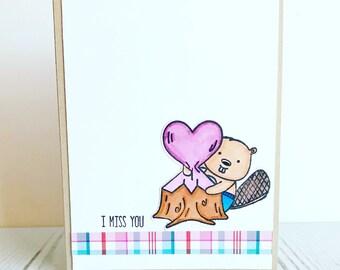 I miss you handmade card, beaver card