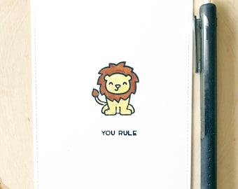 You rule card, lion card, handmade lion card