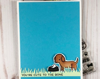 You're cute to the bone card, punny card , dog card