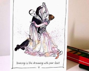 Rainbow Pastel Ballroom Dancing Card Dancesport Waltz Quickstep Foxtrot Tango Dance