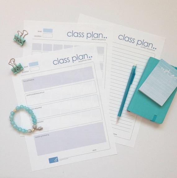 Yoga Class Plan Yoga Class Plan Printable 3 Page Pdf Etsy