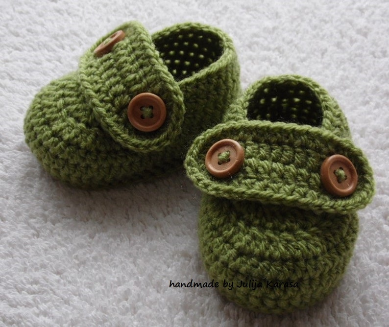 0e83a494c9ad6 Baby booties handmade for newborn baby, 0-3 months or 3-6 months, crochet  baby shoes, baby shower gift, meadow green baby booty