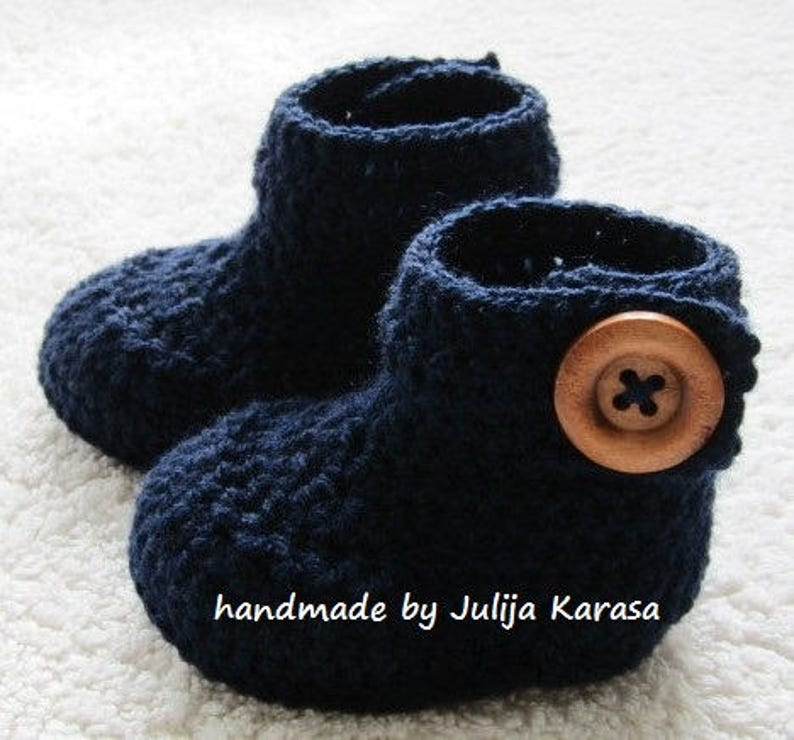 Boots Handmade Crochet Baby Bootees Navy Blue Button Detail