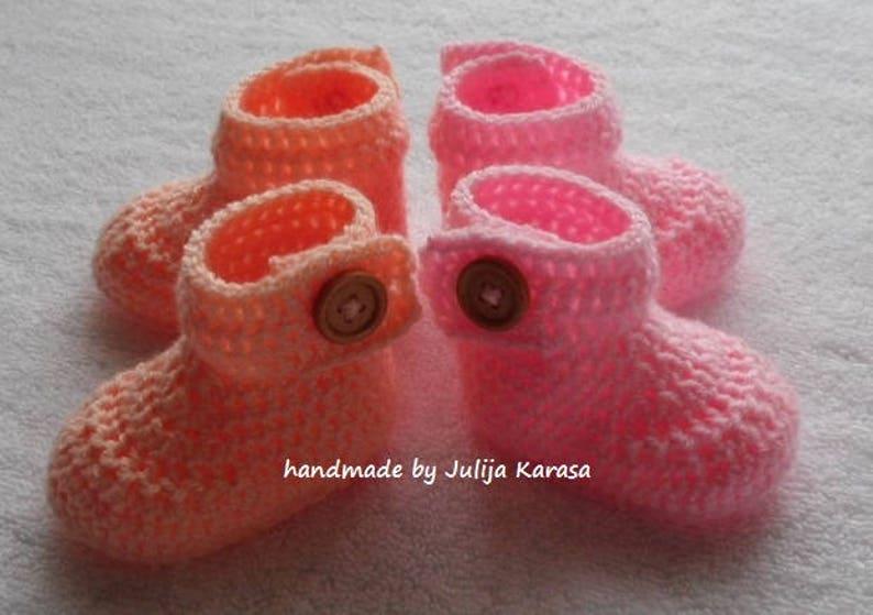 set for baby crochet baby boots handmade shower gift booties for baby Handmade baby boots crocheted baby booties girl/'s twin set