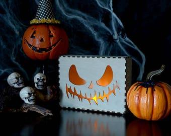 Halloween Wooden Lamp, Jack O Lantern, Laser Cut Lamp, Halloween Decor, Laser Cut Pumpkin, Laser Engrave, Pumpkin, Halloween Decorations