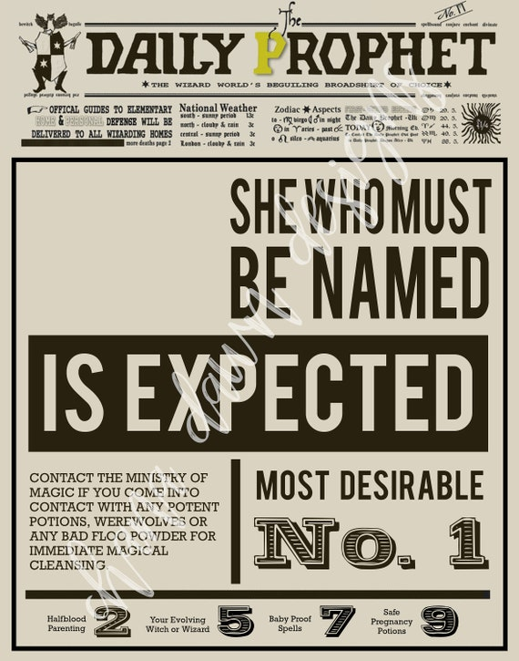 graphic relating to Harry Potter Daily Prophet Printable known as Everyday Prophet Being pregnant Announcement - Harry Potter