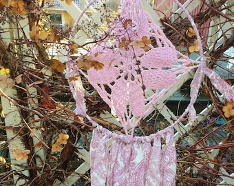 Romantic pink and white dreamcatcher