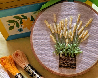 Hand Embroidered Potted Plant, Gifts under 30, Hand-Stitched Greenery, Gift Idea, Nursery Decor, Spring Decor, Gardener Gift, Yellow Plant
