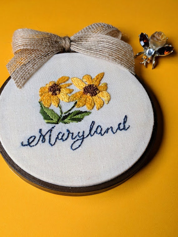 hand embroidered maryland state flower art maryland wall etsy