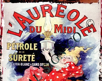 FRENCH  L/'AUREOLE LAMP OIL METAL SIGN RETRO VINTAGE STYLE SMALL coffee shop tin