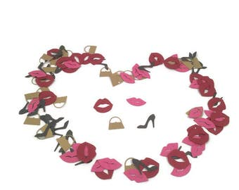 Red Pink Lips birthday party table confetti-lips,stiletto,handbag purse themed table sprinkles,birthday,teen party,hen night,bachelorette
