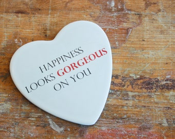 """Valentine's day: """"Gorgeous""""-romantic Phrase on ceramics (gift for her/him)"""