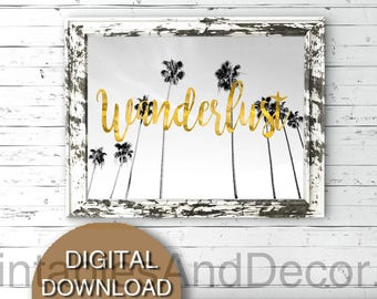 Printable Palm Trees Art, Wanderlust, Palm Tree Print, Palm Tree Wall Art, 5x7 8x10 11x14 16x20