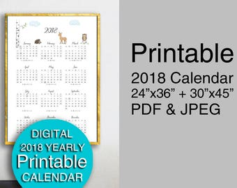Printable Calendar 2018 Year at Glance / Woodland Animals / Wall Calendar 2018 / 24x36 30x45 PDF